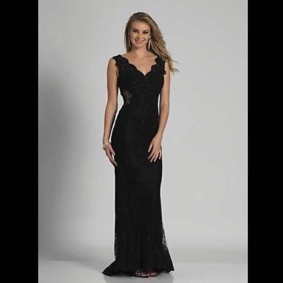 b62169e9238b Dave and Johnny Dresses | Black Lace Long Prom Dress Dave Johnny ...
